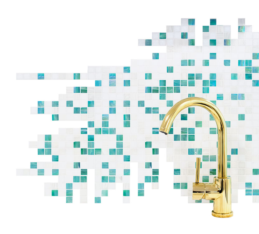 Mosaikk av flisene på klinikken til iSmile Tannregulering på Ryen